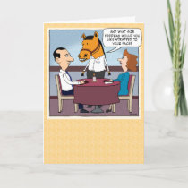 Funny Horse Waiter Birthday Card