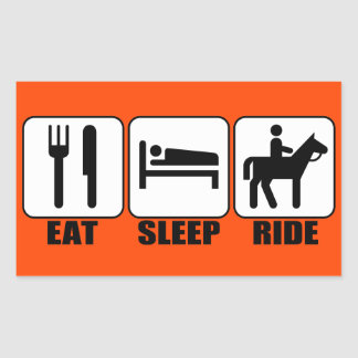 Funny Horseback Rider's Eat Sleep Ride Any Color Rectangular Sticker