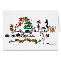 Funny Horses Decorating Pasture Cartoon Card