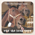"""Funny Horses Square Paper Coaster<br><div class=""""desc"""">Funny photograph of two horses at a fake bar making the old,  naff joke funny again on beer mats.</div>"""