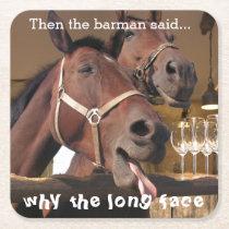 Funny Horses Square Paper Coaster
