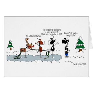 Funny Horses Stealing Cartoon Card