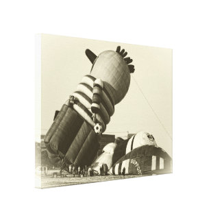 Funny Hot Air Balloon, Sepia, Vintage Look Canvas Print