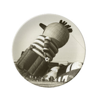 Funny Hot Air Balloon, Sepia, Vintage Look Dinner Plate