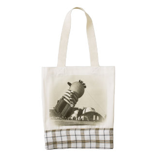 Funny Hot Air Balloon, Sepia, Vintage Look Zazzle HEART Tote Bag