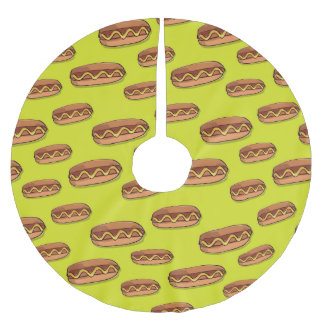 Funny Hot Dog Food Design Brushed Polyester Tree Skirt
