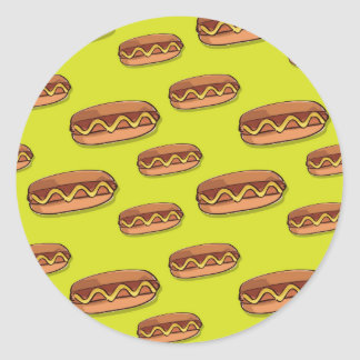 Funny Hot Dog Food Design Classic Round Sticker