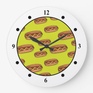 Funny Hot Dog Food Design Large Clock