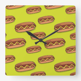 Funny Hot Dog Food Design Square Wall Clock
