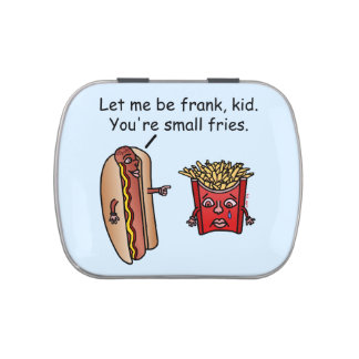 Funny Hot Dog French Fries Food Pun Candy Tins