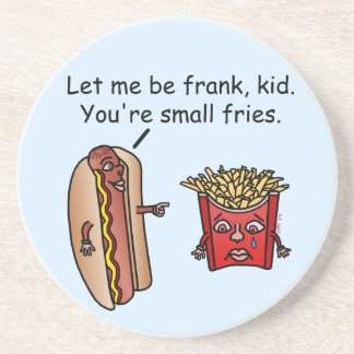 Funny Hot Dog French Fries Food Pun Drink Coaster