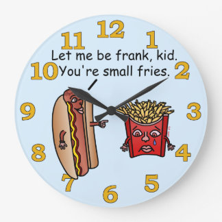 Funny Hot Dog French Fries Food Pun Large Clock
