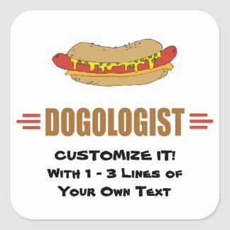Funny Hot Dog Square Sticker