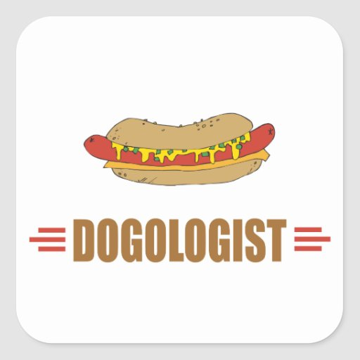 Funny Hot Dog Square Stickers