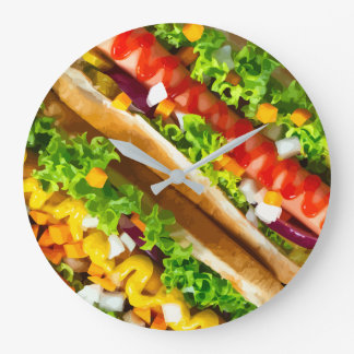 Funny Hot Dogs Wall Decor Clocks