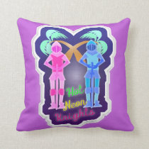 Funny Hot Neon Knights Design Throw Pillow