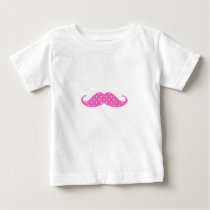Funny Hot Pink Girly  Polka Dots Mustache Baby T-Shirt
