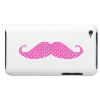 Funny Hot Pink Girly Polka Dots Mustache Barely There iPod Case