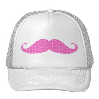 Funny Hot Pink Girly  Polka Dots Mustache Mesh Hats