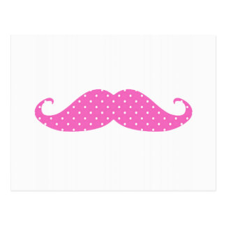 Funny Hot Pink Girly  Polka Dots Mustache Postcard