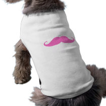 Funny Hot Pink Girly  Polka Dots Mustache T-Shirt