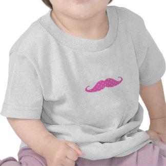 Funny Hot Pink Girly  Polka Dots Mustache Tee Shirts