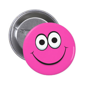 Funny hot pink happy cartoon face pinback buttons