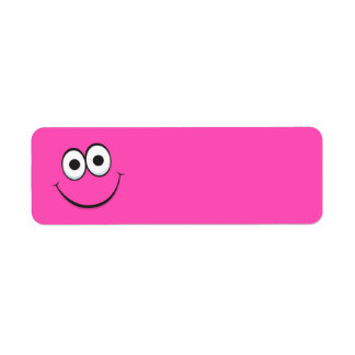 Funny hot pink happy smiling cartoon smiley face return address labels