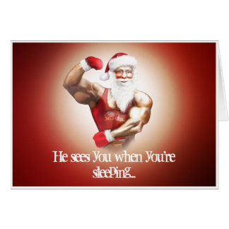 funny hot santa claus muscular and nice card