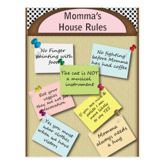 Funny  House Rules Postcard