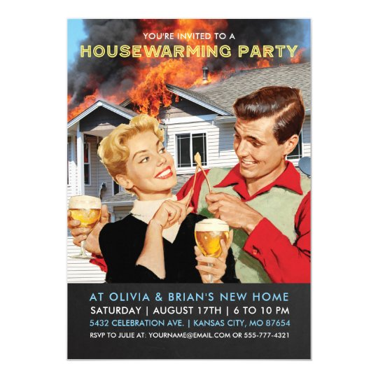 Funny Housewarming Party Invitations On Fire – Funny Housewarming Party Invitations