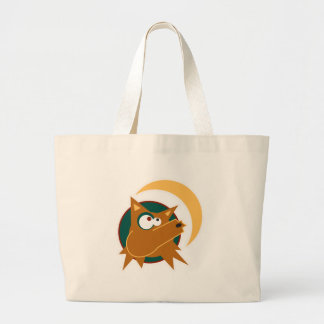 funny howling coyote large tote bag
