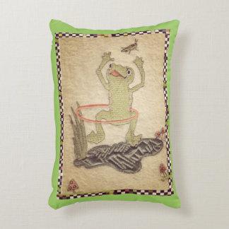 Funny Hula Hoop Frog Decorative Pillow