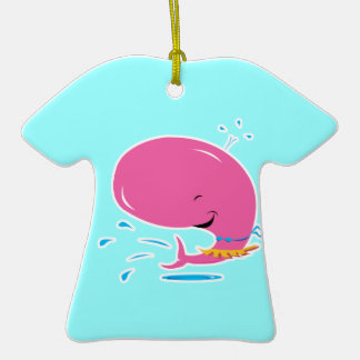 funny hula pink whale Double-Sided T-Shirt ceramic christmas ornament