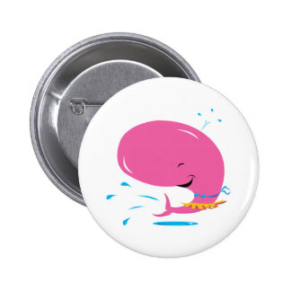 funny hula pink whale pinback button