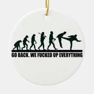 Funny Human Evolution Graphic Design Ceramic Ornament