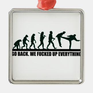 Funny Human Evolution Graphic Design Metal Ornament