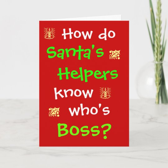 Christmas Pun.Funny Human Resources Boss Work Joke Christmas Pun Holiday Card
