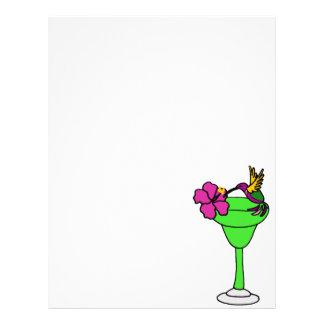 Funny Hummingbird and Hibiscus on Margarita Drink Letterhead