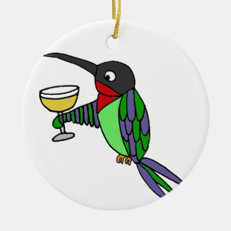 Funny Hummingbird with Wine Ceramic Ornament
