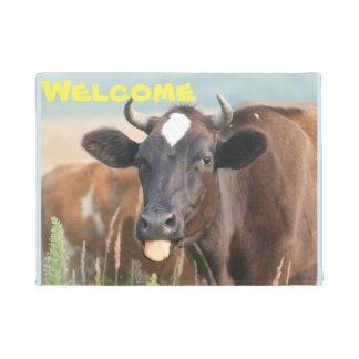 Funny Humor Humour Cow Sticking Tongue Out Welcome Doormat