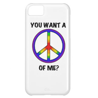 Funny Humor Rainbow Saying Want A Peace of Me sign iPhone 5C Cases