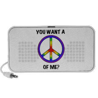 Funny Humor Rainbow Saying Want A Peace of Me sign Mini Speakers