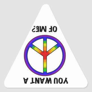 Funny Humor Rainbow Saying Want A Peace of Me sign Stickers