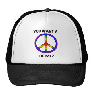 Funny Humor Rainbow Saying Want A Peace of Me sign Trucker Hat