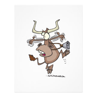 "funny humorous alarmed shocked cartoon cow 8.5"" x 11"" flyer"