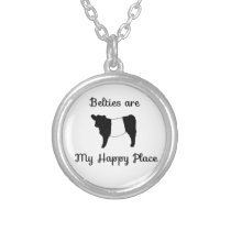 Funny Humorous Certifiable Beltie Cow Happy Place Silver Plated Necklace