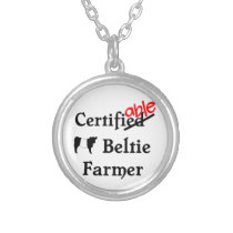 Funny Humorous Certifiable Beltie Farmer Gift Silver Plated Necklace