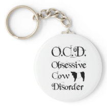 Funny Humorous OCD Obsessive Cow Disorder Belties Keychain