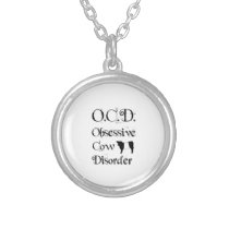 Funny Humorous OCD Obsessive Cow Disorder Belties Silver Plated Necklace